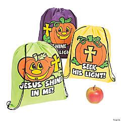 Christian Pumpkin Drawstring Backpacks