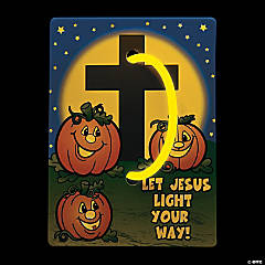 christian pumpkin glow bracelets with card - Christian Halloween Decorations