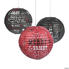 Christmas Chalkboard Print Hanging Paper Lanterns
