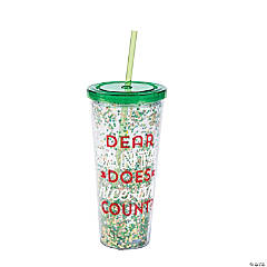 Christmas Confetti Tumbler with Straw