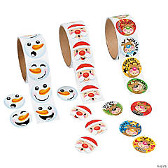 Christmas Face Rolls of Stickers Assortment