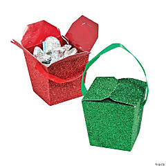 Christmas Glitter Takeout Boxes