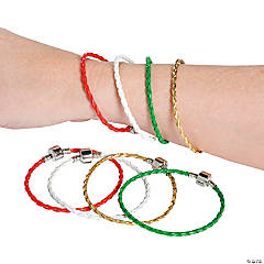 Christmas Large Hole Braided Rubber Bracelets