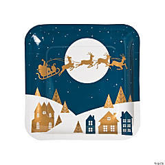 Christmas Night Paper Dinner Plates
