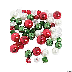 Christmas Pearl & Crystal Bead Assortment - 10mm