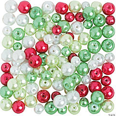Christmas Pearl Bead Assortment - 6mm - 8mm