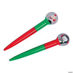 Christmas Pens with Snow Globe Toppers