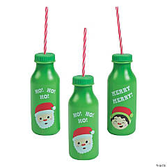 Christmas Plastic Bottles with Lids & Straws
