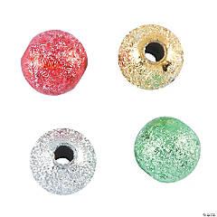 Christmas Round Glitter Beads - 6mm