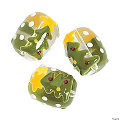 Christmas Tree Premium Glass Beads - 18mm