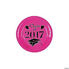 Class of 2017 Hot Pink Paper Dessert Plates
