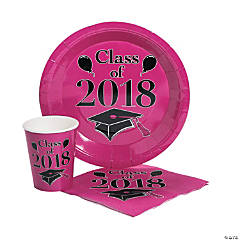 Class of 2018 Hot Pink Tableware Set for 50