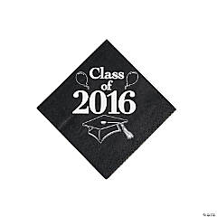 Class of 2016 Black Beverage Napkins