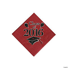 Class of 2016 Burgundy Beverage Napkins