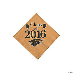 Class of 2016 Gold Beverage Napkins