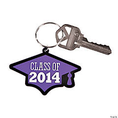 """Class of 2014"" Graduation Purple Key Chains"