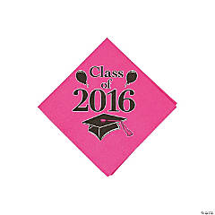 Class of 2016 Hot Pink Beverage Napkins