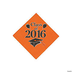 Class of 2016 Orange Beverage Napkins