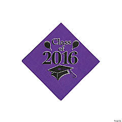 Class of 2016 Purple Beverage Napkins