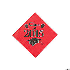 Class of 2015 Red Beverage Napkins