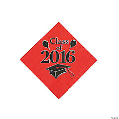 Class of 2016 Red Beverage Napkins