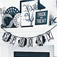 Classic Black & White Halloween Mantel Décor