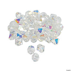 Clear Aurora Borealis Crystal Bicone Beads - 8mm