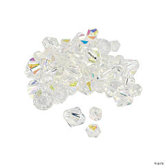 Clear Aurora Borealis Cut Crystal Bicone Beads - 4mm-6mm