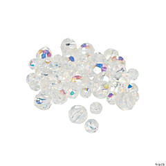 Clear Aurora Borealis Cut Crystal Round Beads - 4mm-6mm
