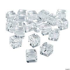 Clear Cube Cut Crystal Beads - 8mm