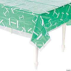 Clear Football Print Plastic Tablecloth