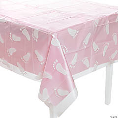 Clear Footprint Baby Shower Plastic Tablecloth