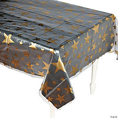 Clear Gold Star Print Plastic Tablecloth