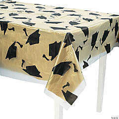 Clear Graduation Cap Plastic Tablecloth