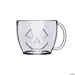 Clear Jack-O'-Lantern Plastic Mugs