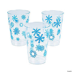 Clear Snowflake Print Cups