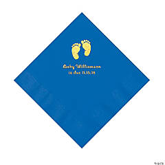 Cobalt Blue Baby Feet Personalized Napkins with Gold Foil - Luncheon