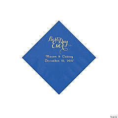 Cobalt Blue Best Day Ever Personalized Napkins with Gold Foil - Beverage