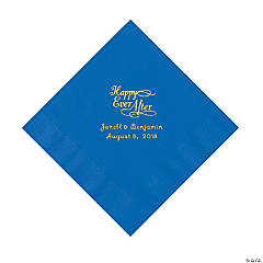 Cobalt Blue Candy Pink Happy Ever After Personalized Napkins with Gold Foil - Luncheon