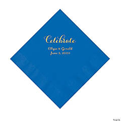 Cobalt Blue Celebrate Personalized Napkins with Gold Foil - Luncheon