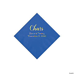 Cobalt Blue Cheers Personalized Napkins with Gold Foil - Beverage