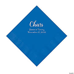 Cobalt Blue Cheers Personalized Napkins with Silver Foil - Luncheon