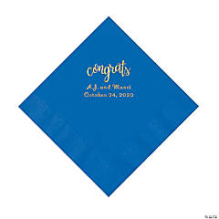 Cobalt Blue Congrats Personalized Napkins with Gold Foil - Luncheon