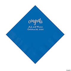 Cobalt Blue Congrats Personalized Napkins with Silver Foil - Luncheon