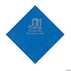 Cobalt Blue Cowboy Boots Personalized Napkins with Gold Foil - Luncheon