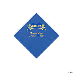 Cobalt Blue Introducing Personalized Napkins with Gold Foil - Beverage