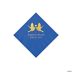Cobalt Blue Love Birds Personalized Napkins with Gold Foil - Beverage
