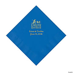 Cobalt Blue Love Laughter & Happily Ever After Personalized Napkins with Gold Foil - Luncheon