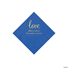 Cobalt Blue Love Script Personalized Napkins with Gold Foil - Beverage