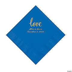 Cobalt Blue Love Script Personalized Napkins with Gold Foil - Luncheon